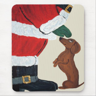 Dachshund And Santa Mouse Pads