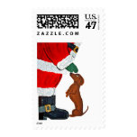 Dachshund And Santa Postage Stamp