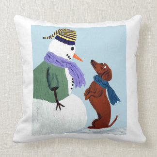 Dachshund And Snow Man Throw Pillow
