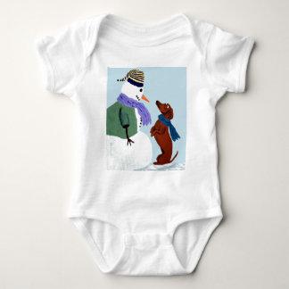 Dachshund And Snowman Baby Bodysuit