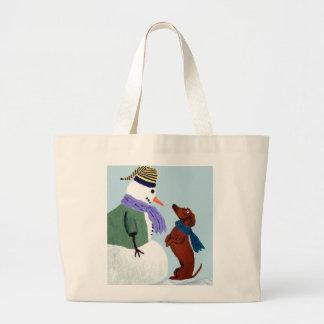 Dachshund And Snowman Bag