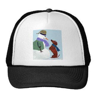 Dachshund And Snowman Trucker Hat