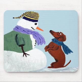 Dachshund And Snowman Mousepad