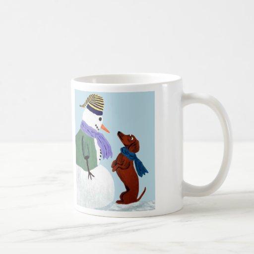 Dachshund And Snowman Mug