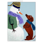 Dachshund And Snowman Note Card