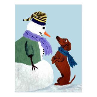 Dachshund And Snowman Postcard