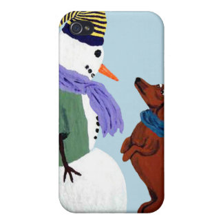 Dachshund And Snowman Speck Case Case For iPhone 4