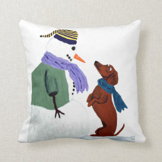 Dachshund And Snowman Throw Pillow