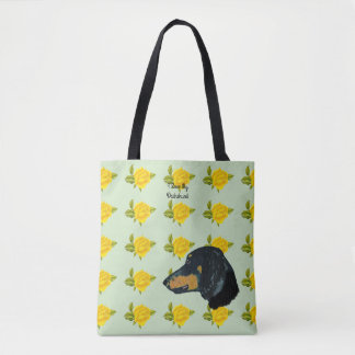 Dachshund and Yellow Roses [Med.] Tote Bag