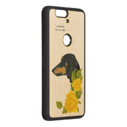Carved ® Google Nexus 6p Bumper Wood Case with Dachshund Phone Cases design