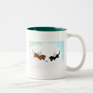 Dachshund Angels Two-Tone Coffee Mug