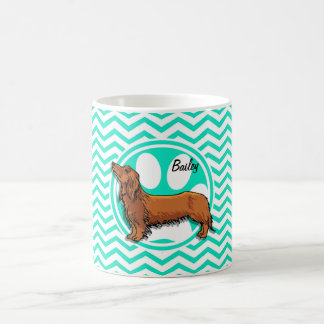 Dachshund; Aqua Green Chevron Coffee Mug