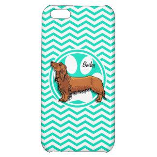 Dachshund; Aqua Green Chevron iPhone 5C Covers