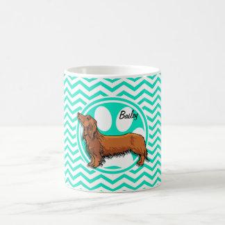 Dachshund; Aqua Green Chevron Classic White Coffee Mug