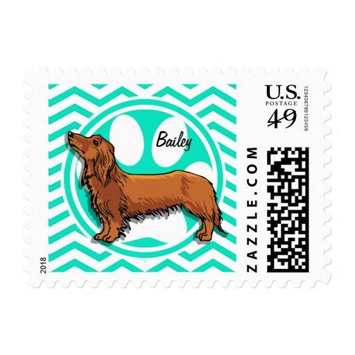 Dachshund; Aqua Green Chevron Stamp