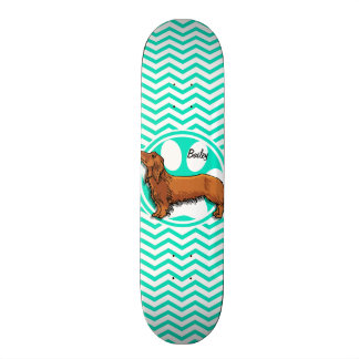 Dachshund; Aqua Green Chevron Skateboard Deck