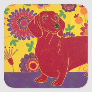 Dachshund Art Square Sticker