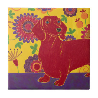 Dachshund Art Small Square Tile