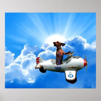 """Dachshund Aviator"" by Zermeno Poster"