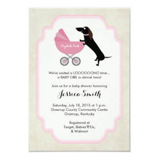 Dachshund Baby Shower Girl Invitation