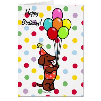 Dachshund Birthday Cartoon Balloons Greeting Card