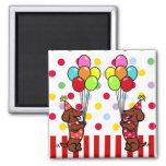 Dachshund Birthday Cartoon Balloons Refrigerator Magnets