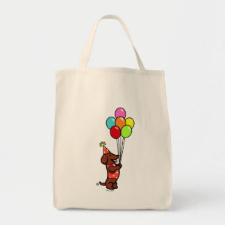 Dachshund Birthday Cartoon Balloons Tote Bag