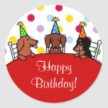 Dachshund Birthday Cartoon Classic Round Sticker