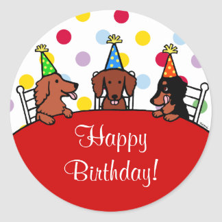Dachshund Birthday Cartoon Classic Round Sticker