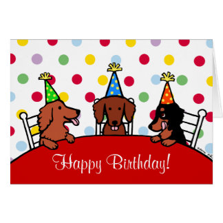 Dachshund Birthday Cartoon Greeting Card
