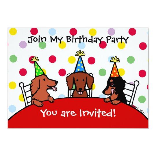 Dachshund Birthday Cartoon Party Invitation