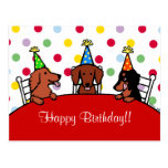Dachshund Birthday Cartoon Post Cards