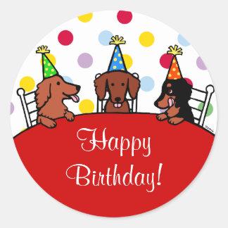 Dachshund Birthday Cartoon Round Stickers