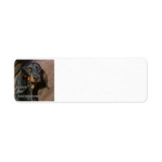 dachshund-black and tan love w pic label