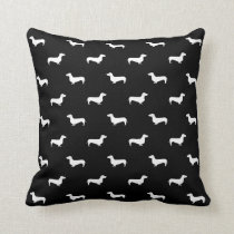 Dachshund black and white pattern pillow