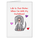 Dachshund Black Life Is Just Better Card