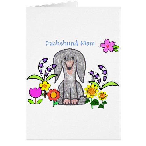 Dachshund Black Mom Card