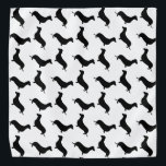 """Dachshund Black Silhouette on White or Any Color Bandana<br><div class=""""desc"""">Dachshund Black Silhouette on White or Any Color Black outlined silhouettes on white or any color background of the short-legged Dachshund,  beloved by its owners for its feisty and clever temperament. Bred to ferret out badgers and other ground burrowers,  the tiny dog is not short on personality</div>"""