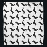 "Dachshund Black Silhouette on White or Any Color Bandana<br><div class=""desc"">Dachshund Black Silhouette on White or Any Color Black outlined silhouettes on white or any color background of the short-legged Dachshund,  beloved by its owners for its feisty and clever temperament. Bred to ferret out badgers and other ground burrowers,  the tiny dog is not short on personality</div>"