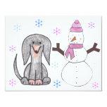Dachshund Black & Snowman 4.25x5.5 Paper Invitation Card