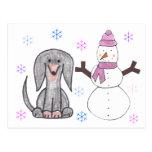 Dachshund Black & Snowman Postcard