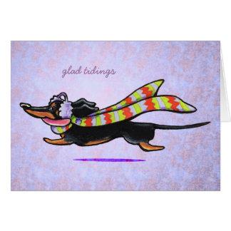 Dachshund Black/Tan Winter Glad Tidings Custom Greeting Card