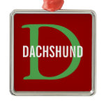 Dachshund Breed Monogram Design Metal Ornament