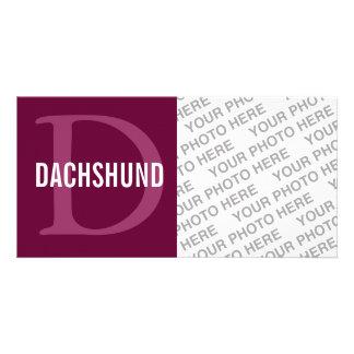 Dachshund Breed Monogram Design Photo Card