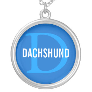 Dachshund Breed Monogram Design Round Pendant Necklace