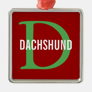 Dachshund Breed Monogram Design Square Metal Christmas Ornament