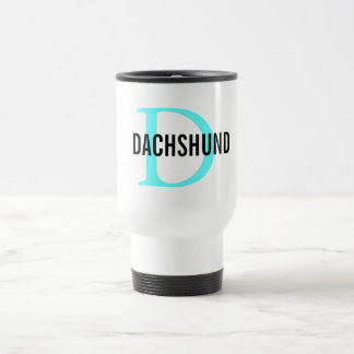 Dachshund Breed Monogram Design Travel Mug