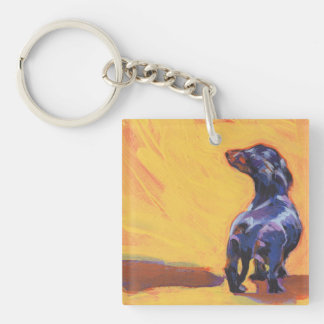 dachshund Bright Colorful Pop Dog Art Double-Sided Square Acrylic Keychain