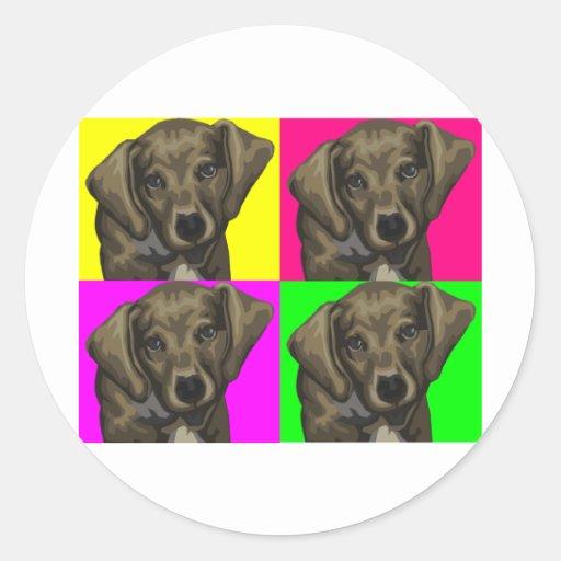 Dachshund Bright Dog Collage Round Stickers