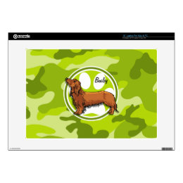 "Dachshund; bright green camo, camouflage decals for 15"" laptops"